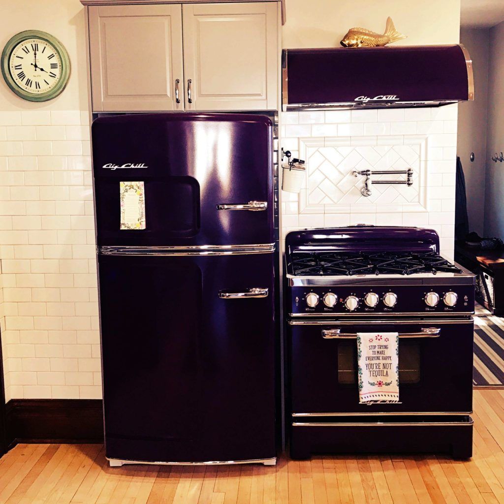 Both the big chill original retro fridge and hood combo along with the 36″ retro stove were ordered in one of our 200 custom colors purple