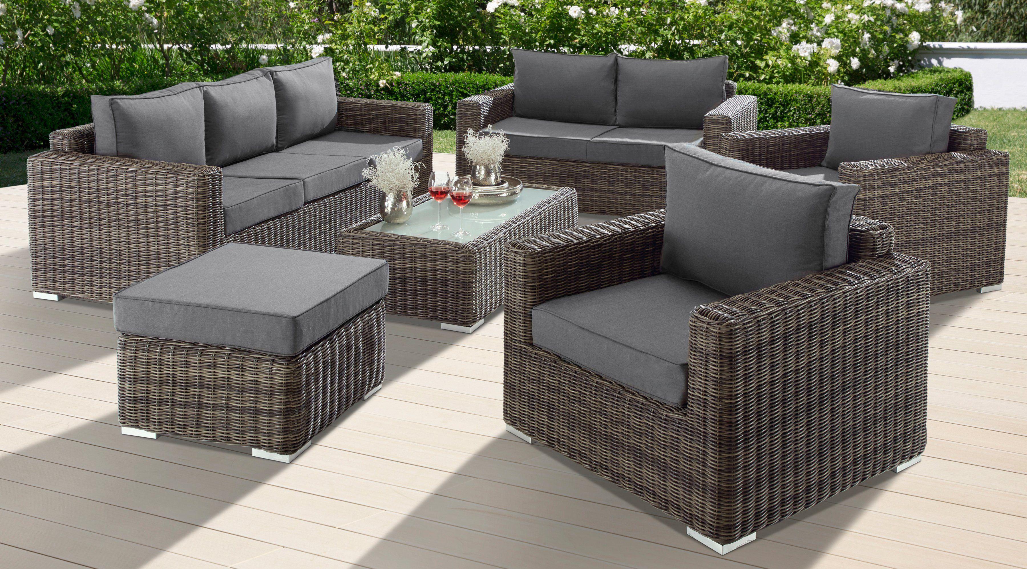 Baidani Loungeset Escape 21 Tlg 3 Sitzer 2 Sitzer Hocker Tisch Polyrattan Lounge Mobel Lounge Rattan Lounge