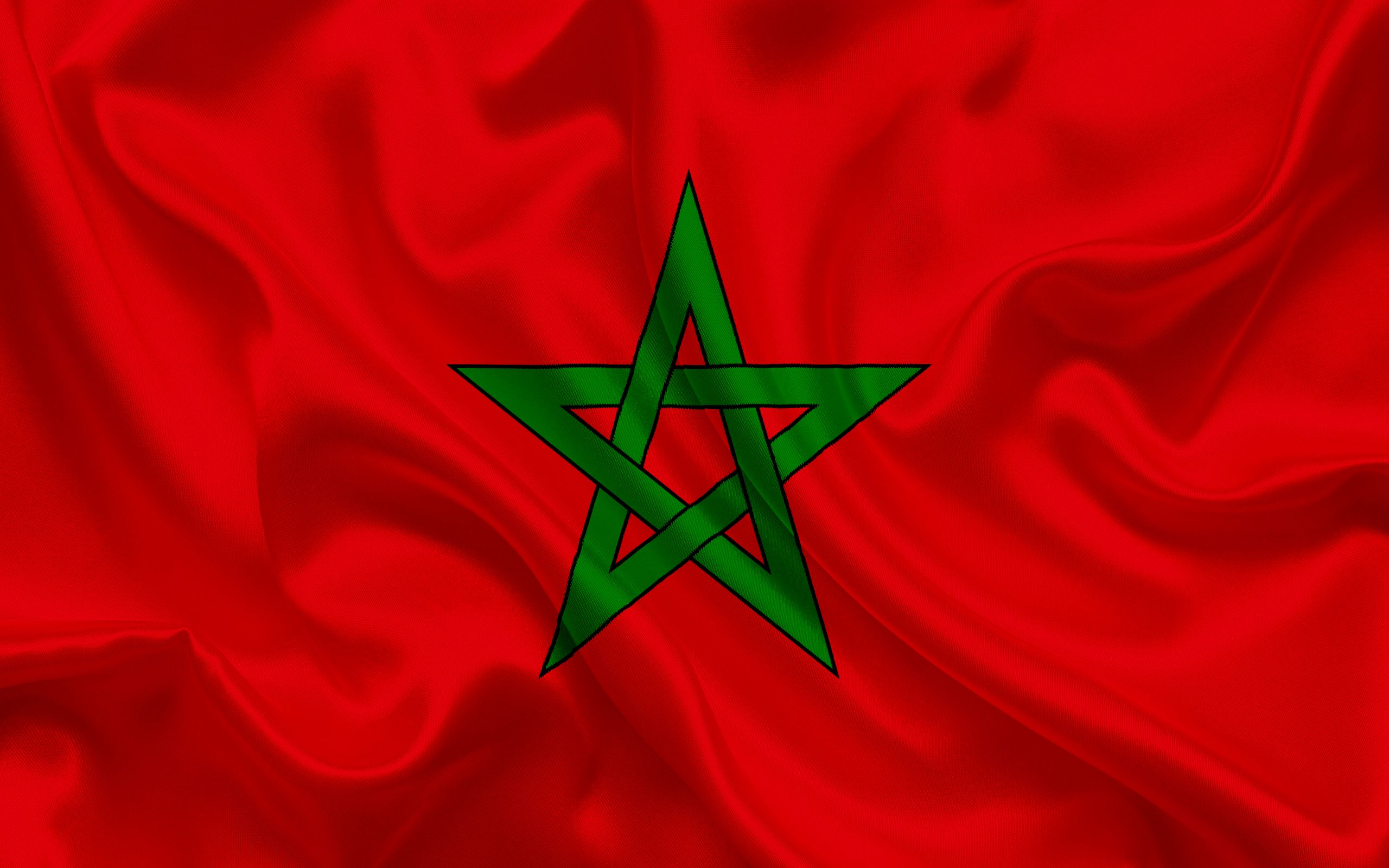 Moroccan flag, Morocco, North Africa, silk flag, flag of ...