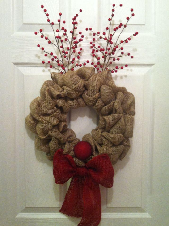 Rudolph burlap wreath wreath pinterest burlap for Crafts to make with burlap