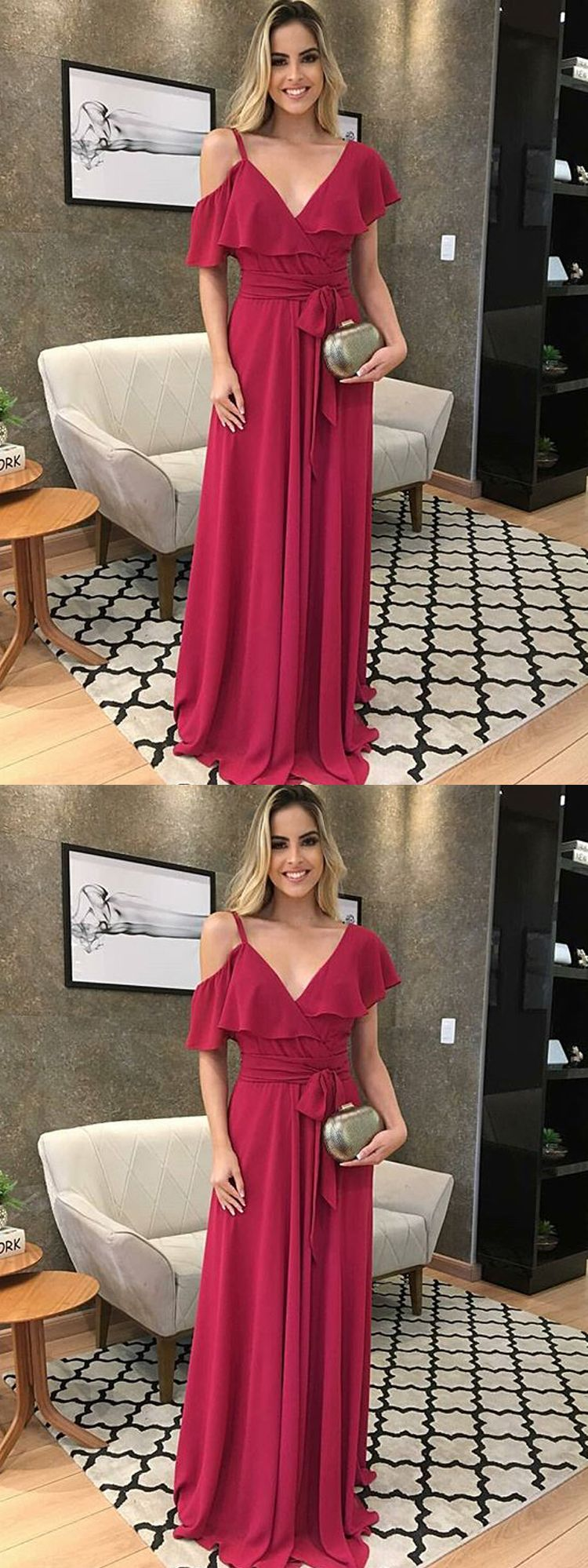 Charming a line one shoulder wine chiffon long prom dresses formal