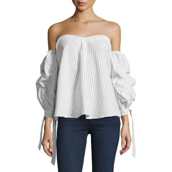 773615c8573866 Aiden Striped Off-the-Shoulder Top ( 74) ❤ liked on Polyvore featuring tops