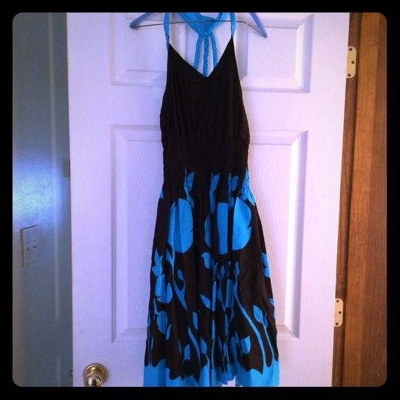 Dark brown and teal halter dress Scrunchy at stomach-super cute dressed up or down Dresses