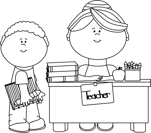 Clip Art Black And White Black And White Boy Student At Teacher S Desk Clip Art Image Black Clip Art Free Clip Art Teacher Images