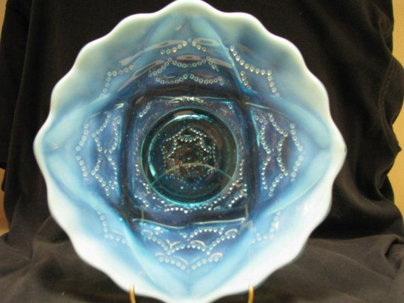 Antique Blue Opalescent Wishbone & Drapery bowl by GlassShowcase
