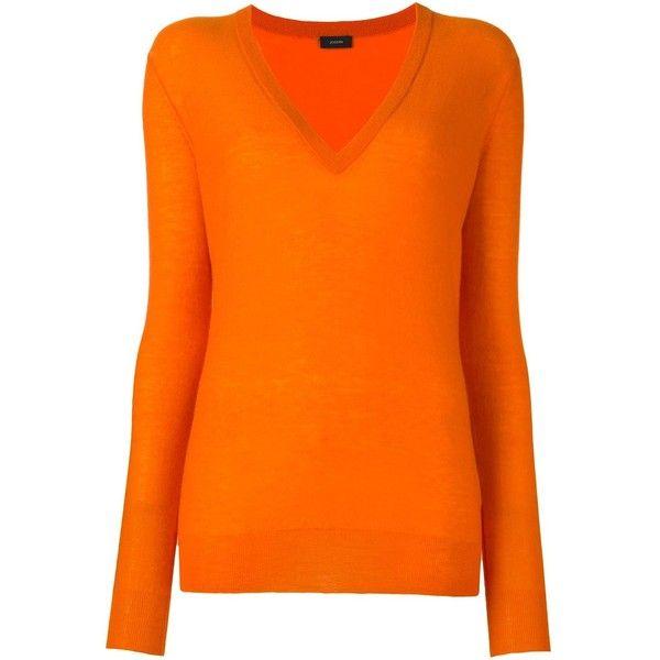 Joseph V-Neck Jumper (€255) ❤ liked on Polyvore featuring tops, sweaters, v neck jumper, v-neck jumper, cashmere jumpers, v neck tops and orange sweater