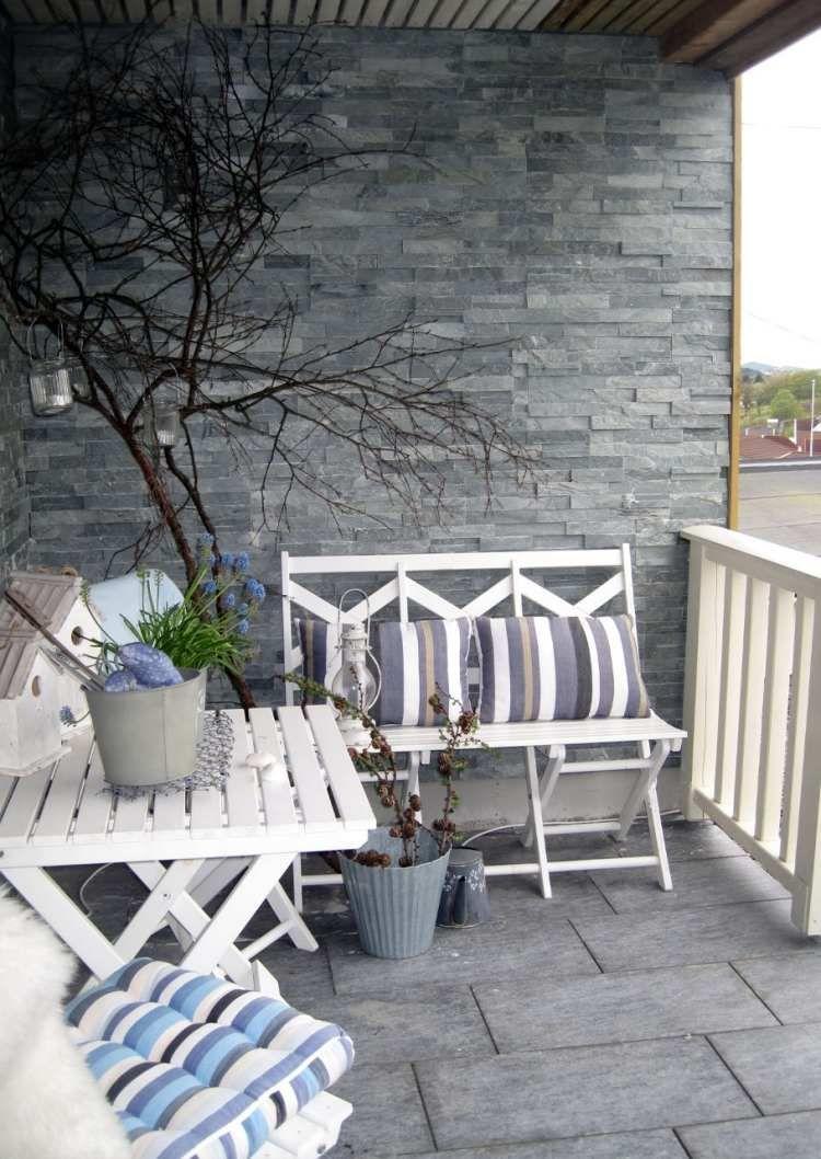 wandverkleidung mit schiefer verblendsteinen und graue, Gartengerate ideen