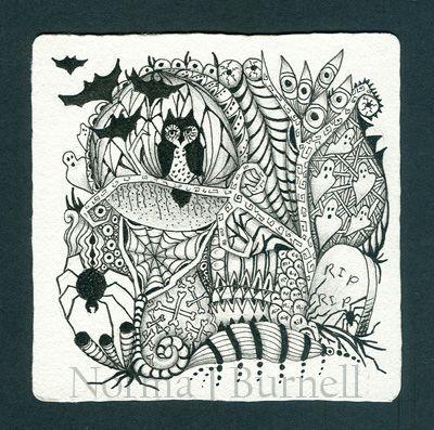 209 Halloween Tangle3 Jpg 400 397 Halloween Zentangle Zentangle Patterns Zentangle Drawings