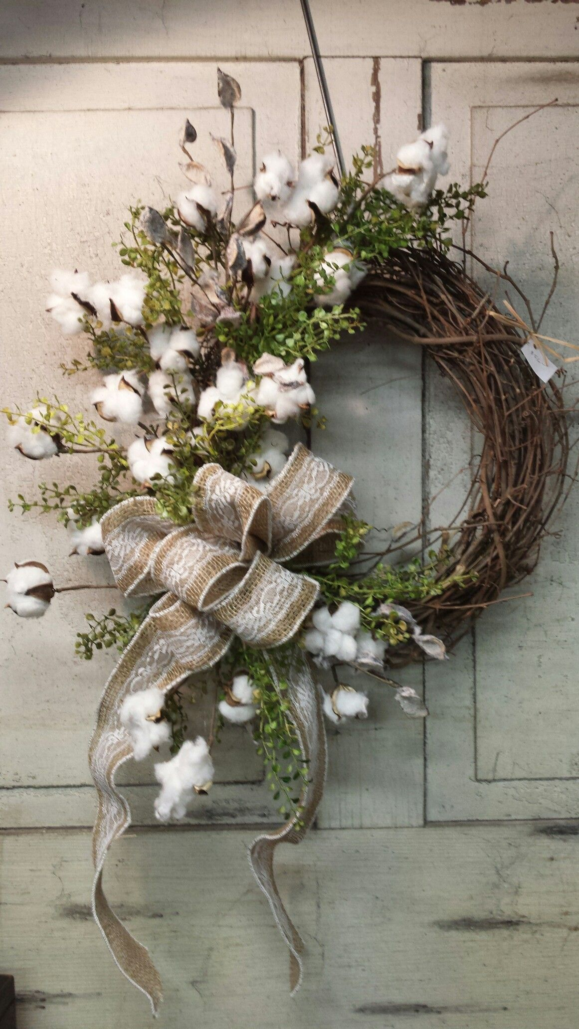 Cotton Wreath Rustic Christmas Wreath Wreath Decor Spring