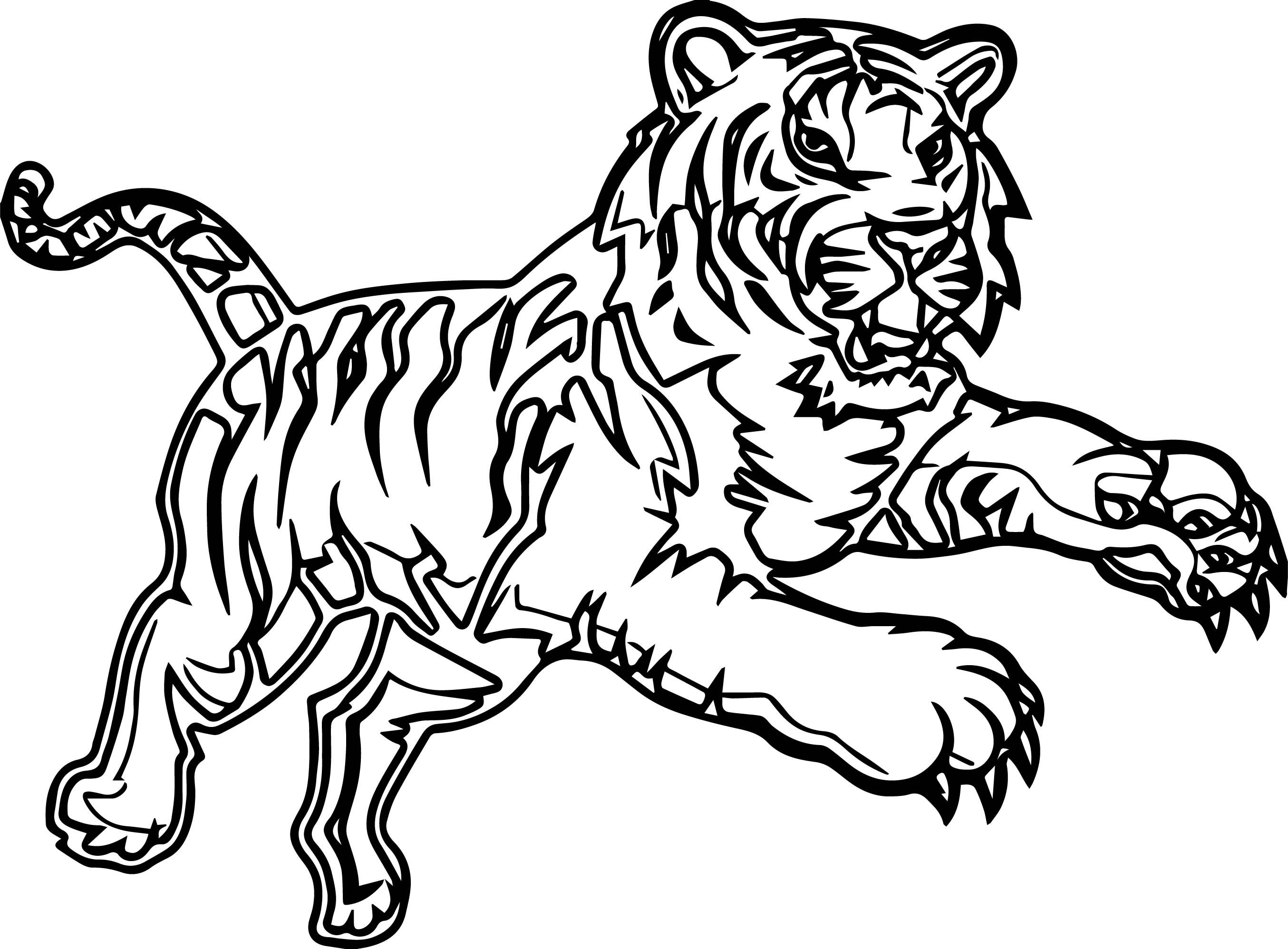 Awesome Attack Time Tiger Coloring Page Coloring Pages Coloring