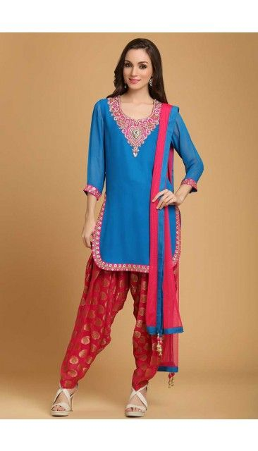 0e361a32cf Blue with Red Georgette Patiala Salwar - 1603 | Diwali Collection ...