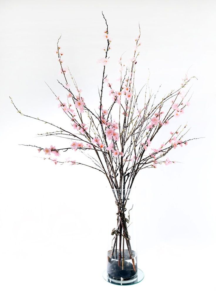 Realistic Life Like Pink Cherry Blossom With Sticks Flower Arrangement In Artificial Water Gl Vase 119 00 Via Etsy