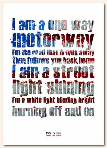 FOO FIGHTERS Times Like These song lyric by RetrotypePrints, £8.99