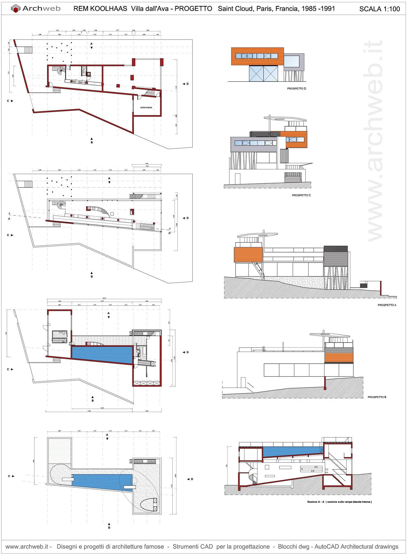 Villa dallava autocad dwg cabanes maisons peintures couleurs plan de