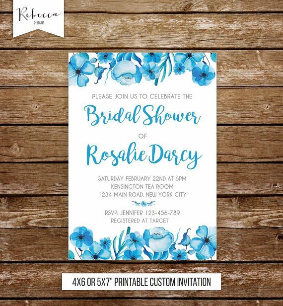 Blue Bridal Shower Invitation Something Blue Bridal Shower Brunch