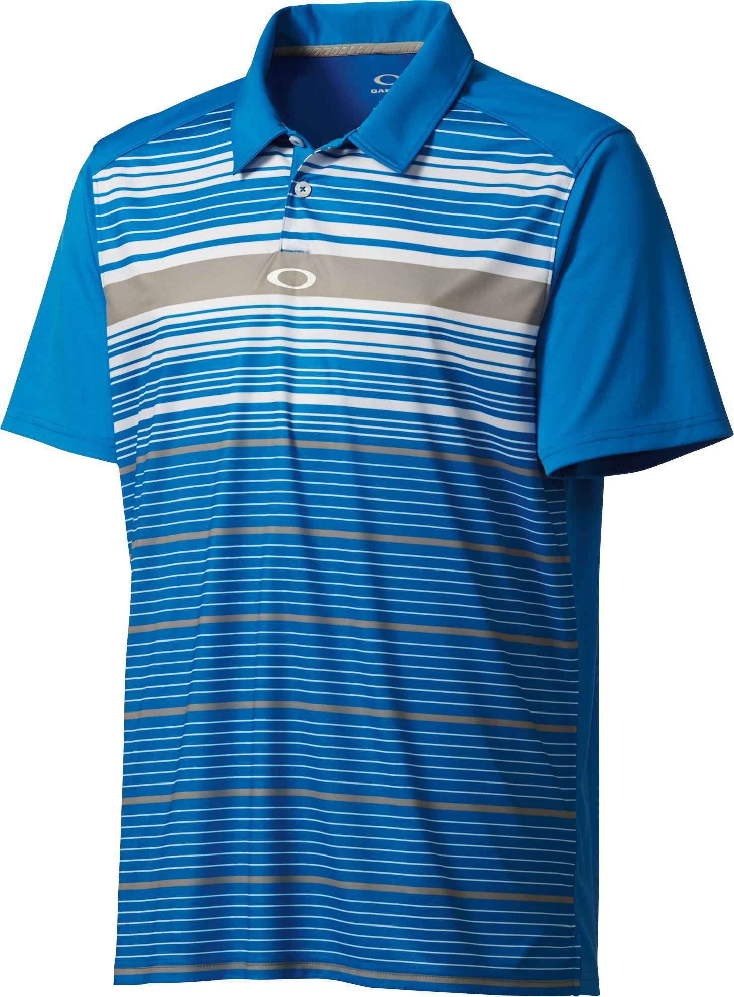 9761d39ba8 Oakley Legacy Stripe Polo | Golf Galaxy Mens Polo T Shirts, Golf Shirts,  Oakley
