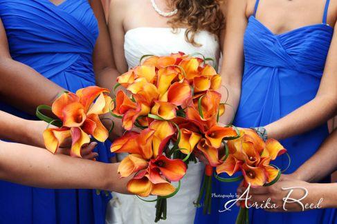 Orange Calla Lily bridesmaids bouquets stemsfloralevents.com Santa Rosa Beach Florist 30a Wedding Florist