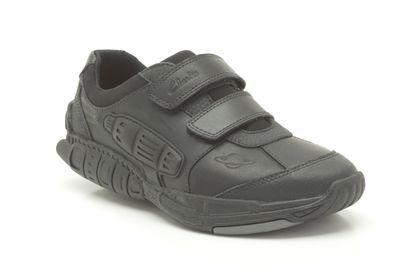 clarks black leather school shoes
