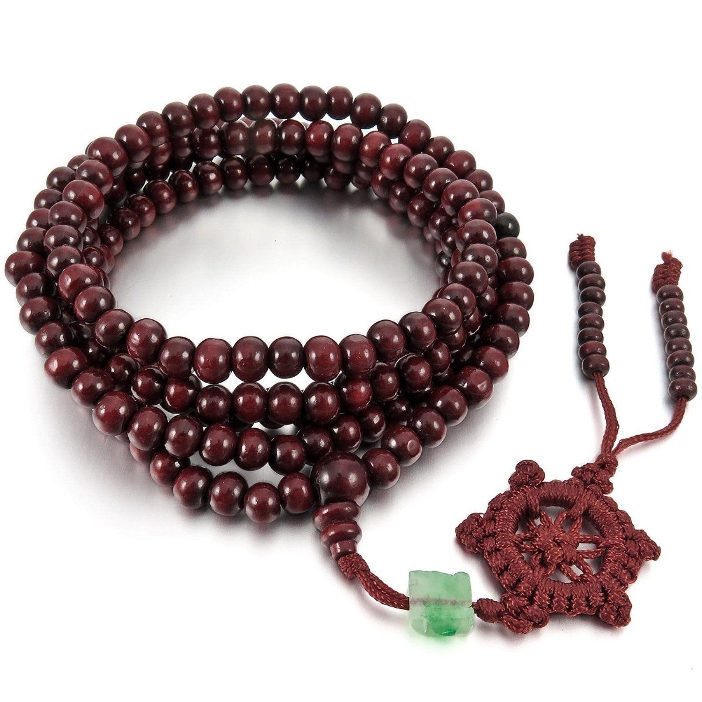Hommes Femmes Bois Bracelet 8 mm tibétaine bouddhiste Santal Perles De Prière Mala