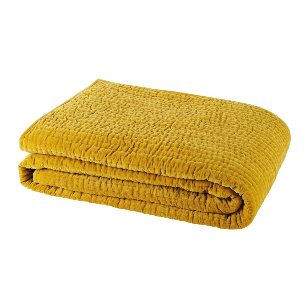 Velvet Quilted Bedspread In Mustard Yellow 240 X 260cm Bedroom