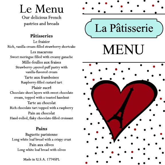 Grace S Bakery Menu Printable With Images American Girl