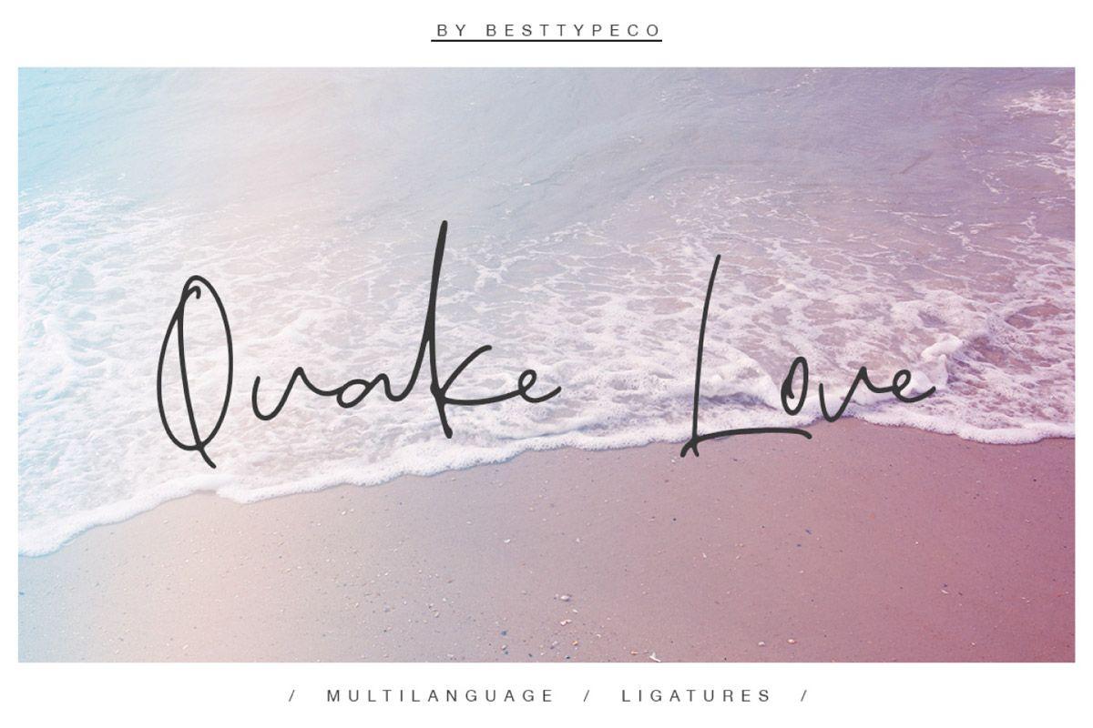 Download Free Quake Love Handmade Calligraphy Font | Free script ...