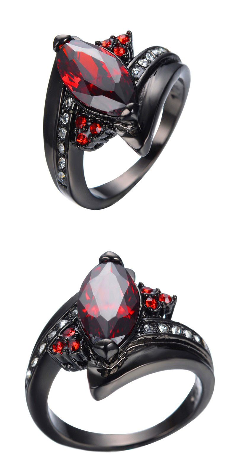 2016 Luxury Marquise Cut Ruby Ring Red Garnet Women Charming Promise  Jewelry Black Gold Filled Wedding