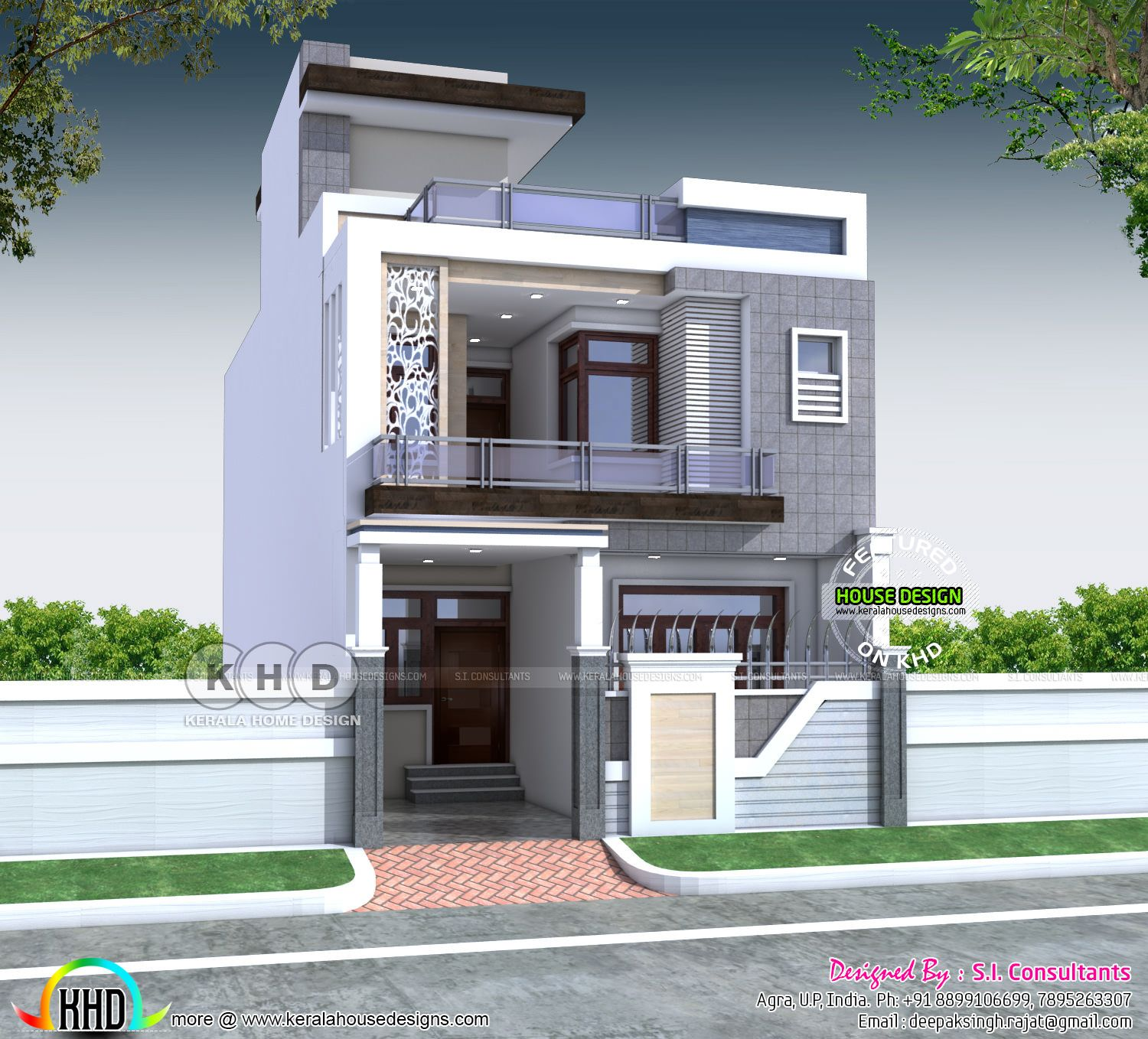 2300 Square Feet 4 Bedroom Indian House Plans Small House Front