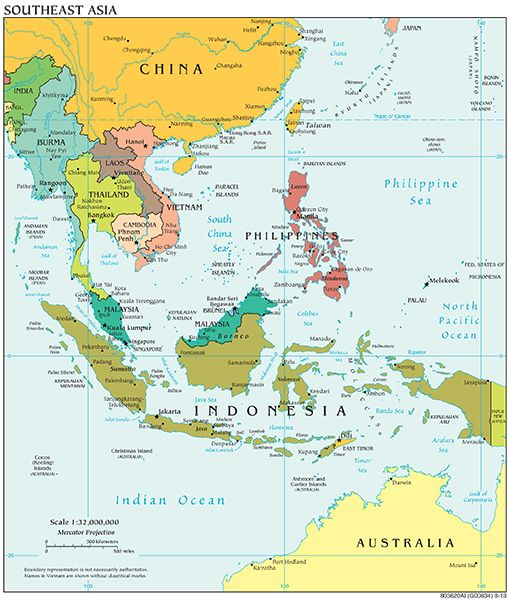 Southeast Asia | Maps and ... | Asia map, East asia map, Peta asia