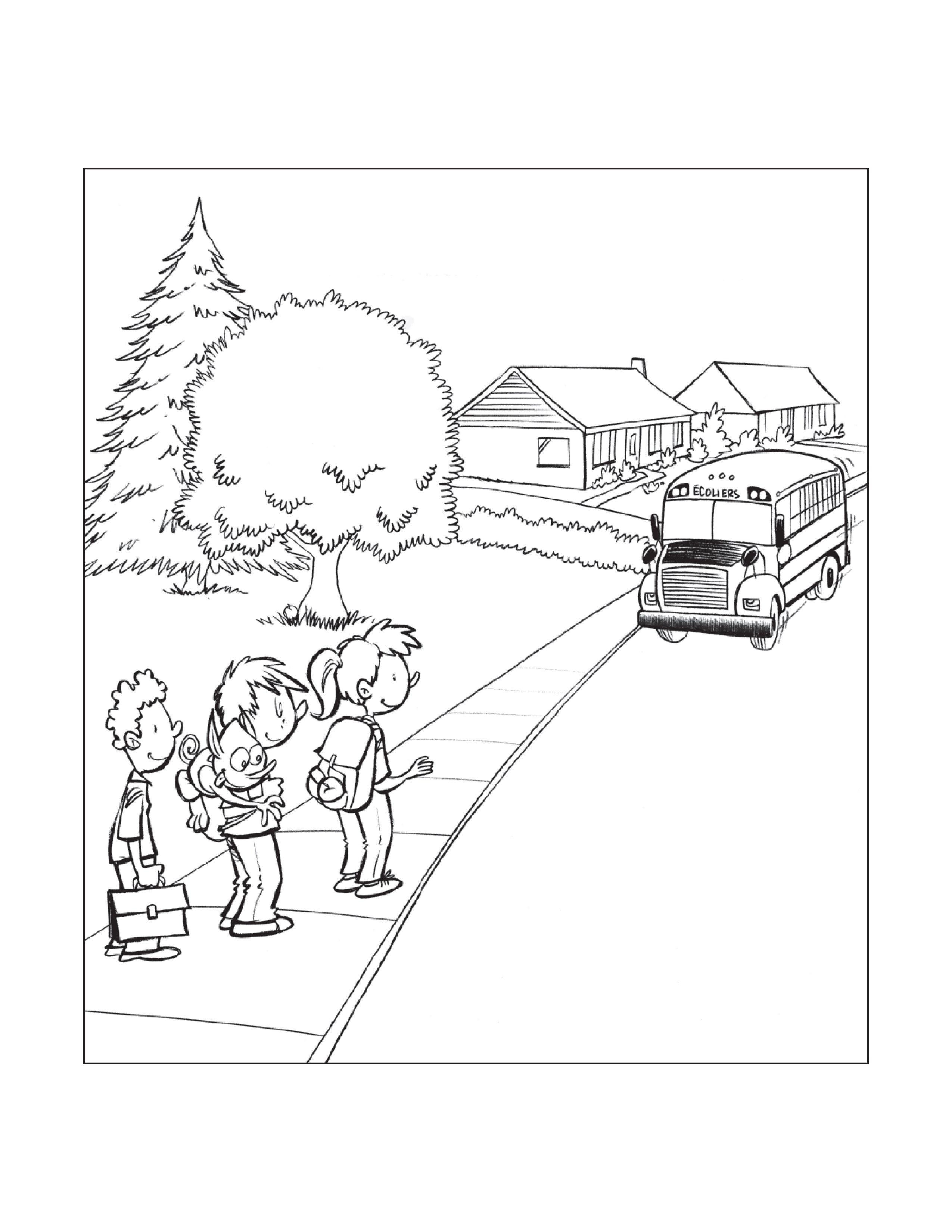 Dessin à Colorier De Sam Et Bloup Sécurité En Autobus