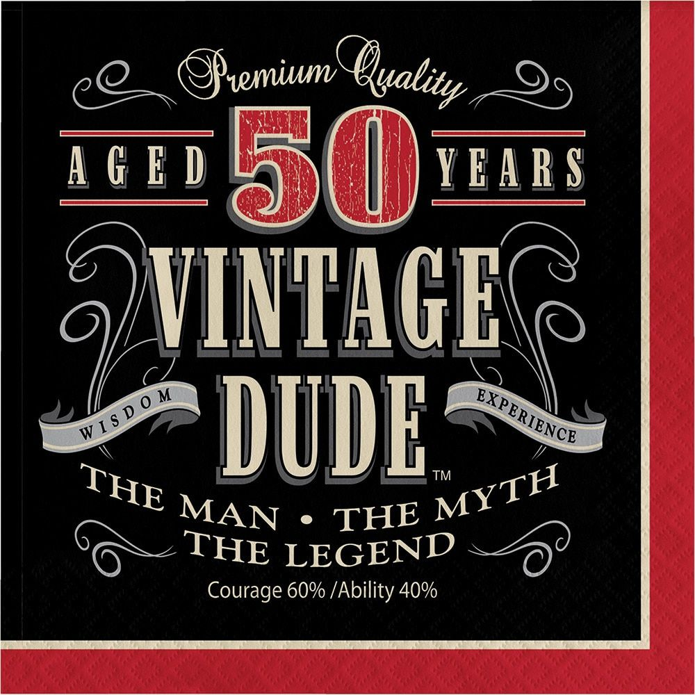 Creative Vintage Dude 50 Years Old Birthday Lunch Napkins