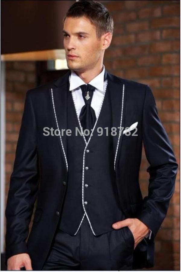 2016 Italian Custom Made Mens Navy Blue Suit Dinner Wedding Tuxedo Groom Suits 3 Pieces