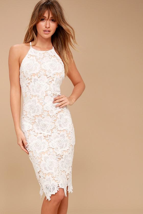 Lulus   Temps De L'Amour White Lace Bodycon Midi Dress   Size Large   100% Polyester -   16 dress Lace bodycon ideas