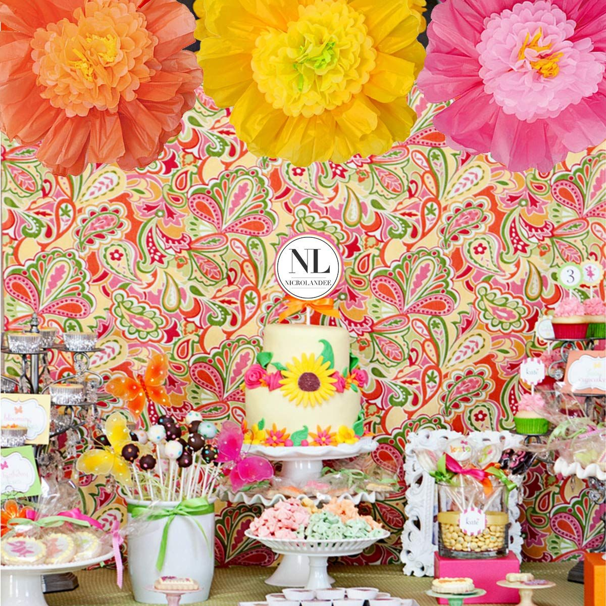 Nicrolandee 24 6 Pack Set Large Tissue Paper Flowers Handcrafted