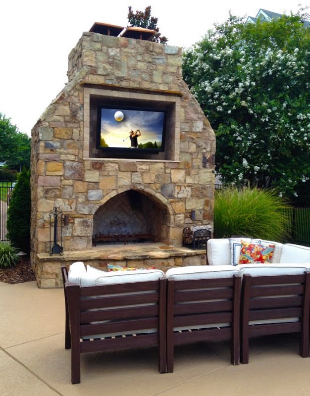 Best outdoor tv weather proof tv for decks pools patio - Outdoor fireplace with tv ...