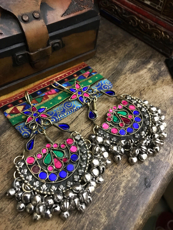 Large ethnic Afghani earrings - kuchi earrings  - glass vintage earrings -tribal jewelry - ethnic jewelry by Omanie on Etsy