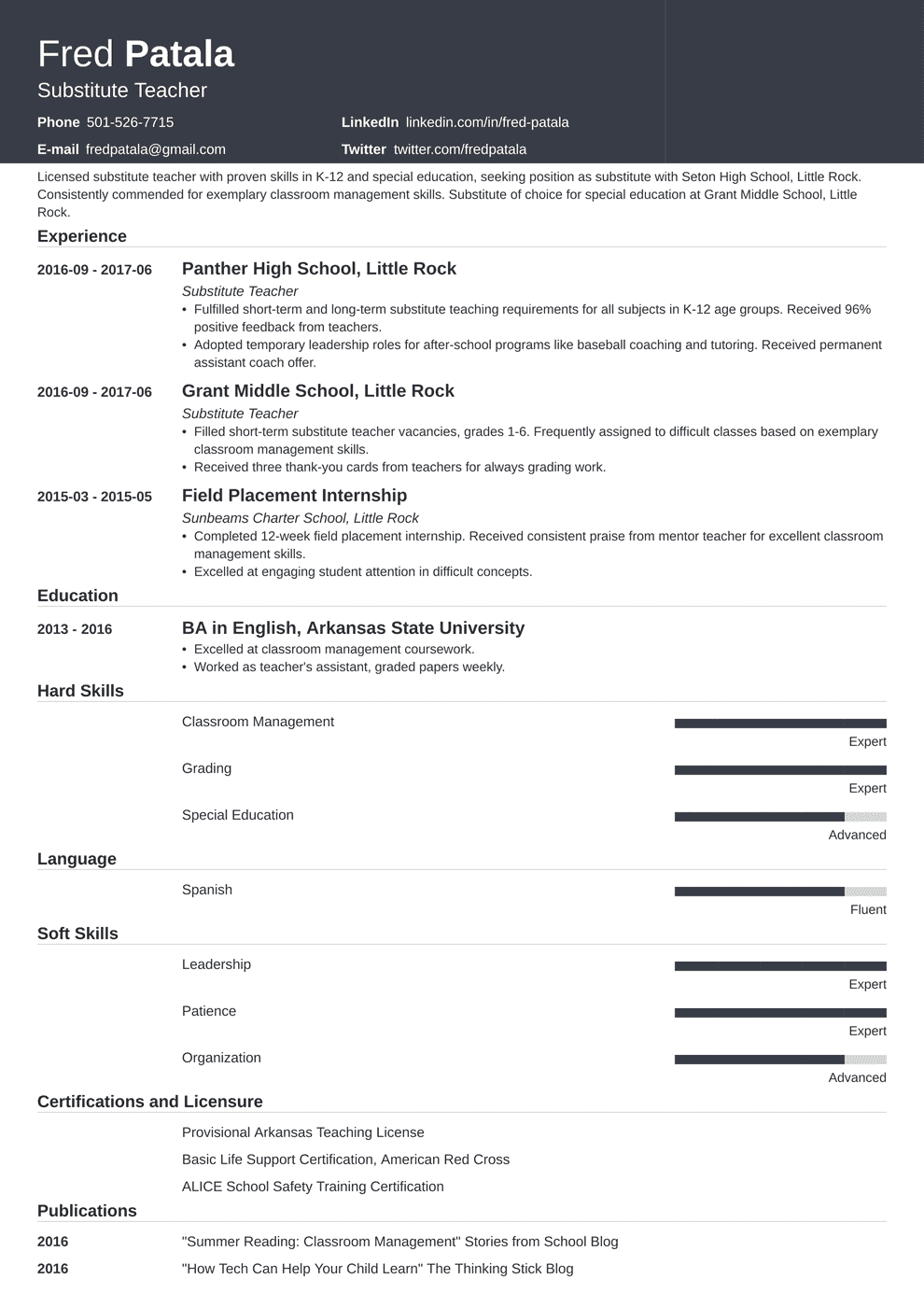 substitute teacher resume template influx in 2020 Resume