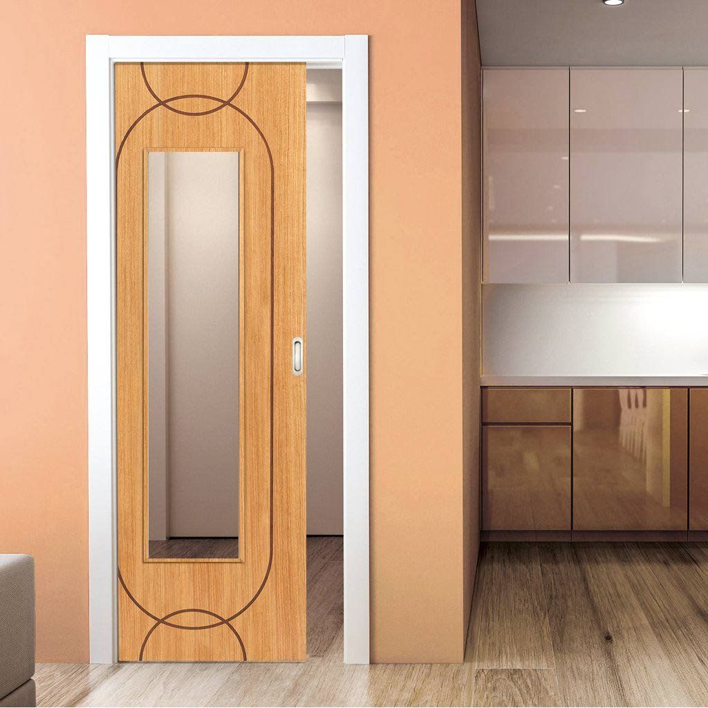 Single Pocket Elements Agua Oak Sliding Door System In Three Size Widths With Clear Glass Designero Sliding Door Systems Internal Sliding Doors Sliding Doors