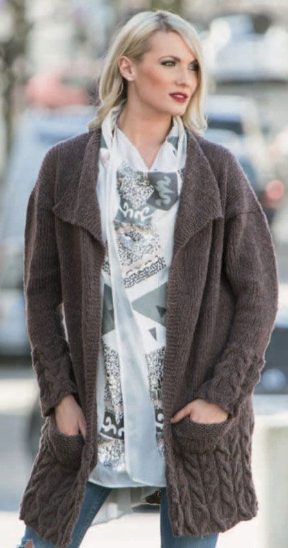 Long Cardigan With Cabled Edges Free Womens Cardigans Knitting