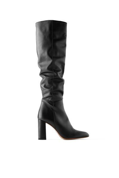 High leg leather heeled boots