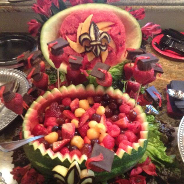 Fruit arrangement for UL Lafayette graduation with school logo.