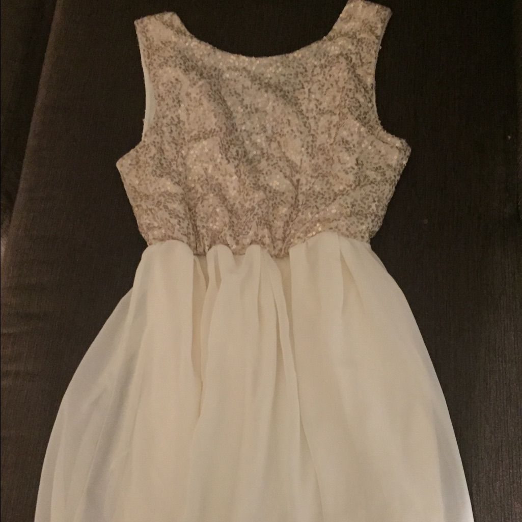 Charming charlie off white dress with gold sequin products