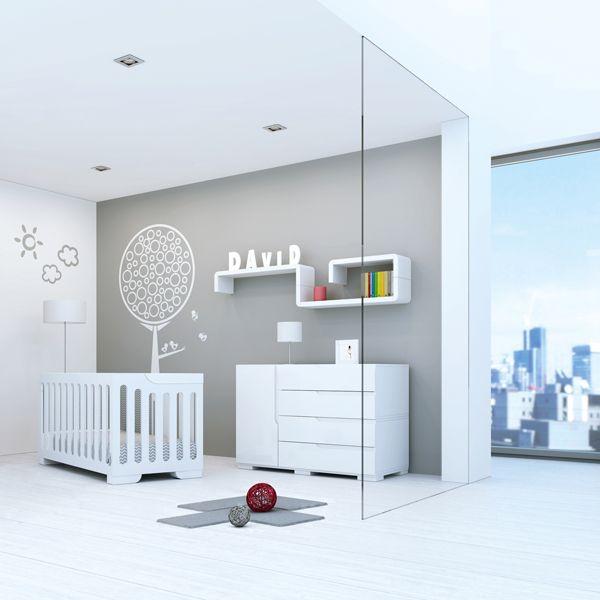 Habitaciones infantiles en blanco para beb s modernas y - Habitaciones infantiles en blanco ...