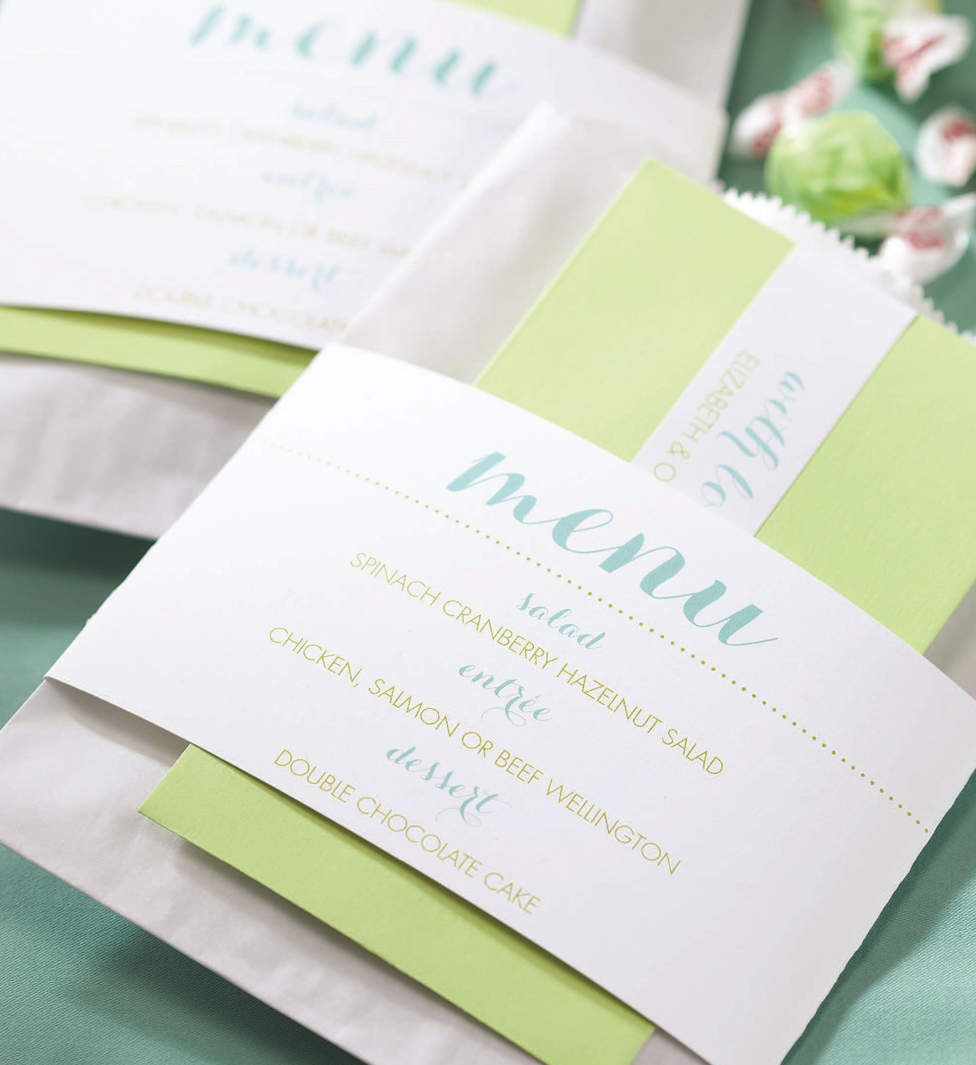 fun modern wedding invitations%0A Modern style mixes with your custom colors on this unique menu wrap  Wrap  around napkins  centerpieces  thank you note envelopes at each place  setting and