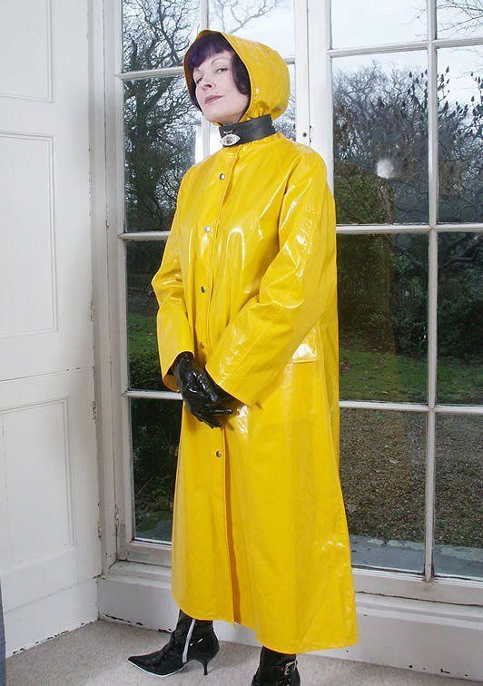 7eb7e34ec4db Long shiny yellow Raincoat