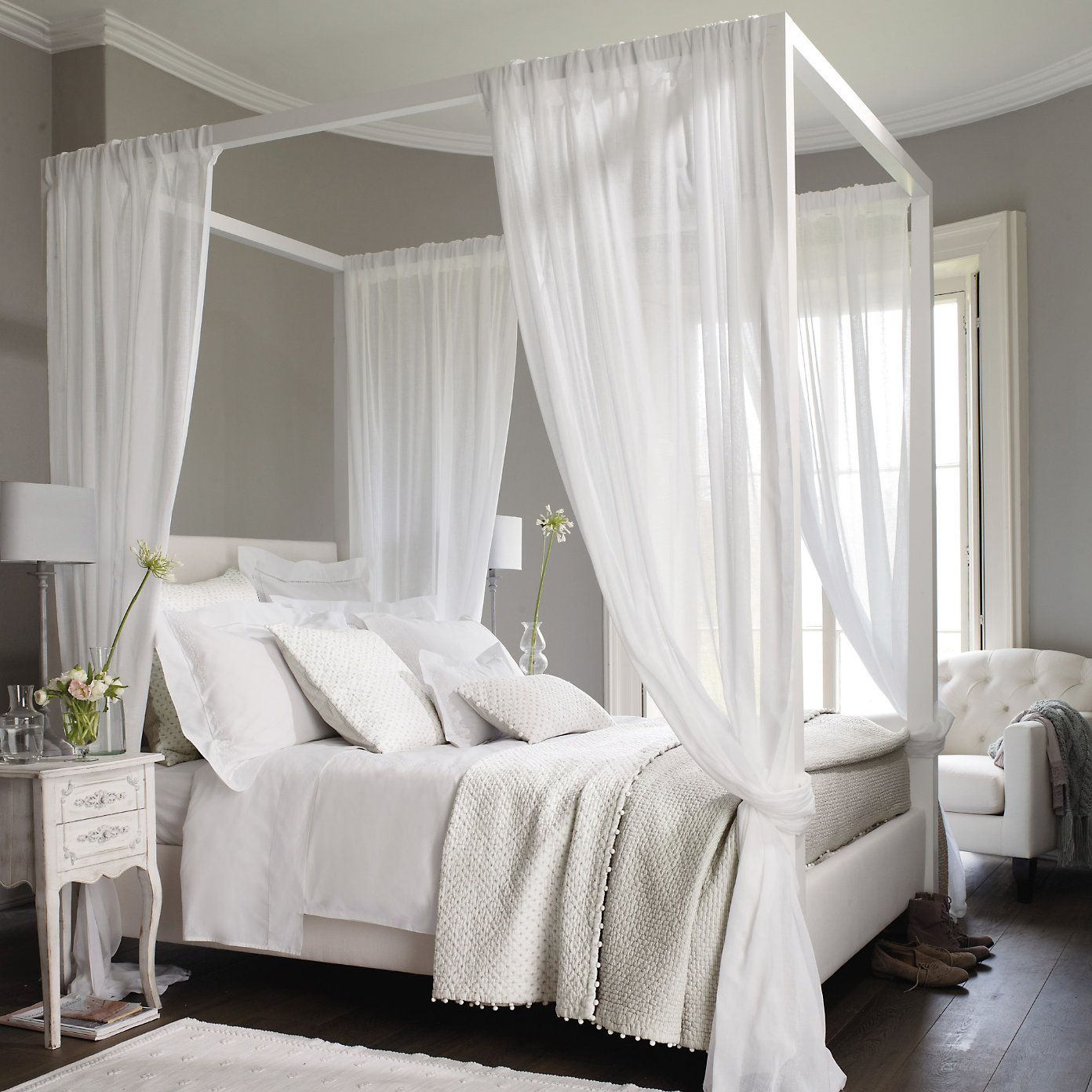 Grey Walls Dark Floors And White Bedroom Contemporary Color Scheme Softened With Four Poster