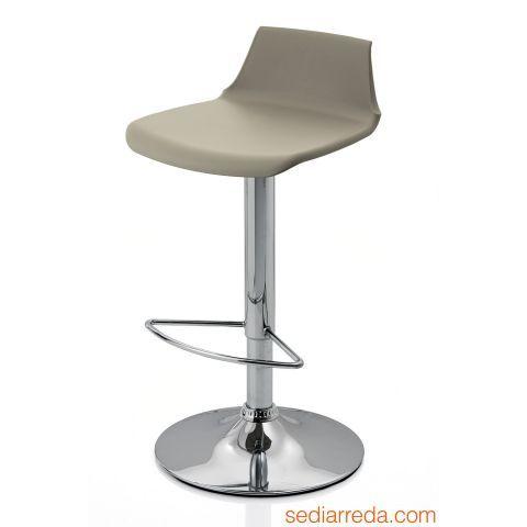 Tabouret réglable /'PRINCES/' gris avec haut dossier confortable