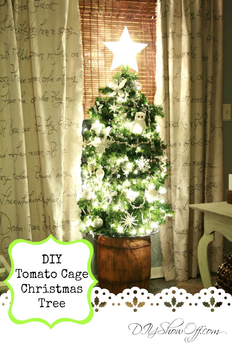 DIY Tomato Cage Christmas Tree tutorial | Tomato cage, Christmas ...