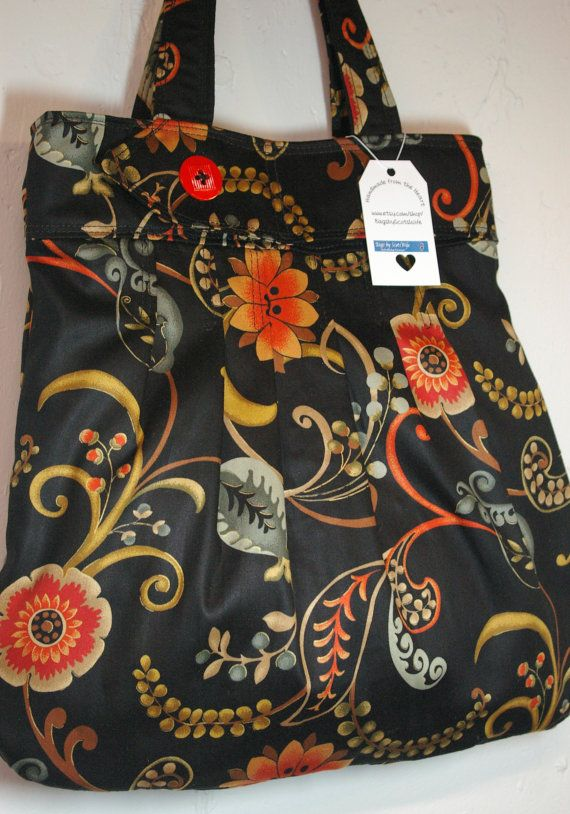 Pleated Bag/Tote/Purse in Beautiful Black & Orange Floral- Ready to Ship