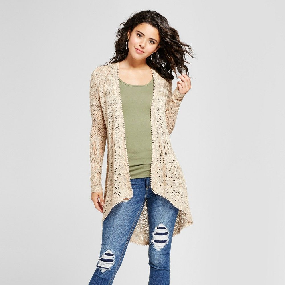 Women's Pointelle Tie Back Duster Cardigan - Almost Famous ...
